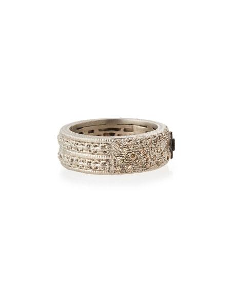 Armenta New World Midnight Scalloped Crivelli Ring with Diamonds, Size 7