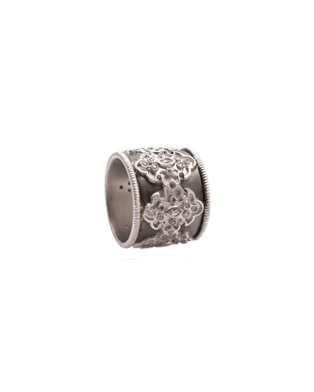 ArmentaNew World Midnight Wide Scroll Band with Diamonds,