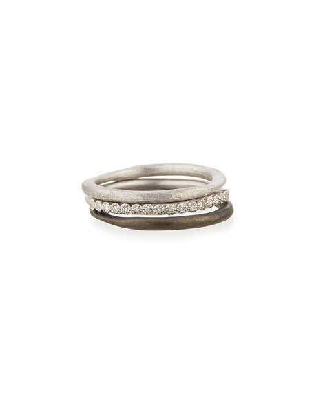 New World Midnight Stacking Rings, Set of Three, Size 6.5