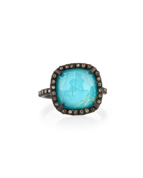 Armenta Old World Midnight Cushion Doublet Ring with Diamonds