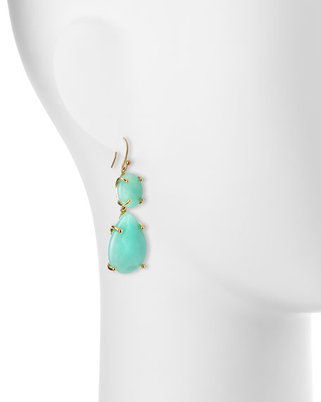Dyed Jade Double-Drop Earrings, Aqua