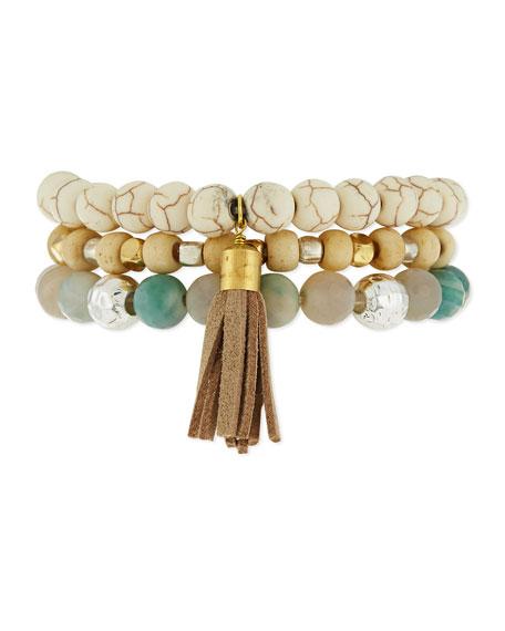 Triple-Row Howlite Stretch Bracelet