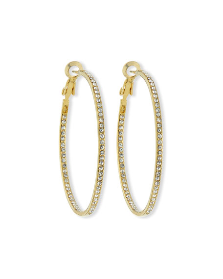 Lisa Freede Crystal Eternity Hoop Earrings, Golden