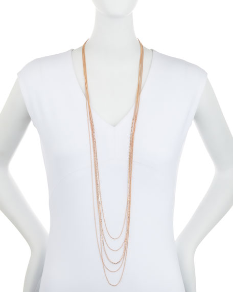 Layered Chain Multi-Row Necklace in Rose-Tone, 48""