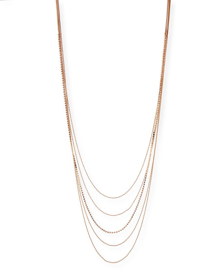 """Layered Chain Multi-Row Necklace in Rose-Tone, 48"""""""