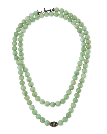 Armenta Old World Midnight Green Moonstone Bead Necklace