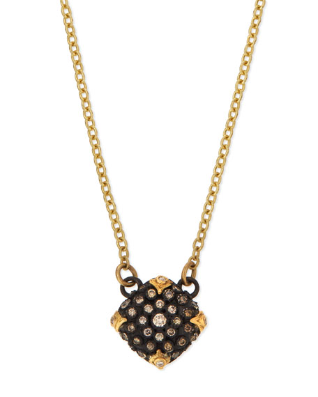 ArmentaOld World Midnight Pavé Diamond Cushion Necklace