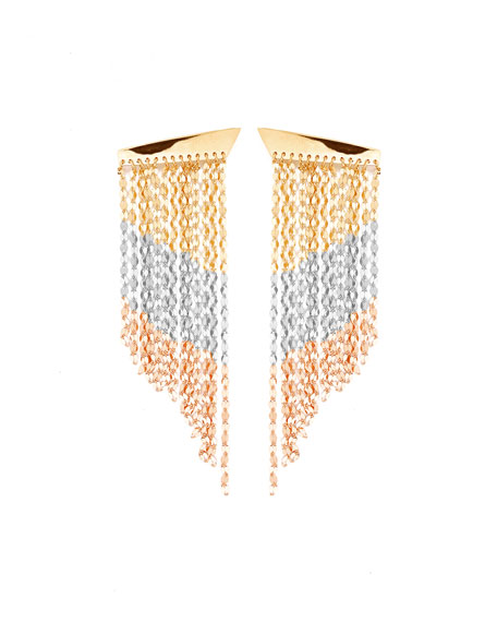 Lana Short Three-Tone Fringe Duster Earrings