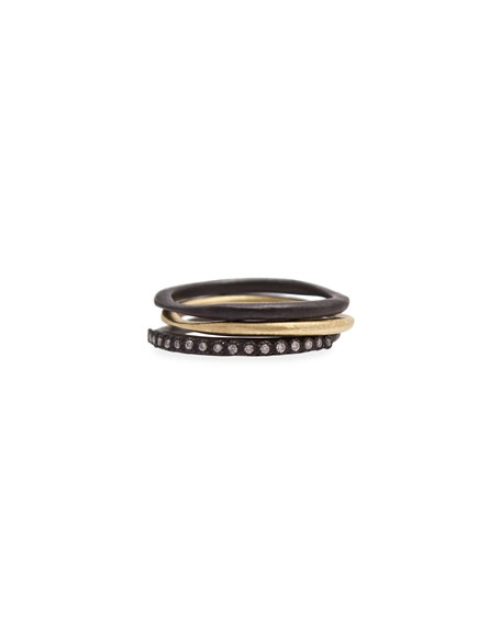 Armenta Old World Midnight Stacking Rings, Set of