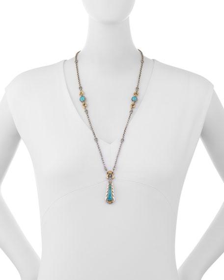 Carved Blue Crystal Quartz Over Chrysocolla Y-Drop Necklace