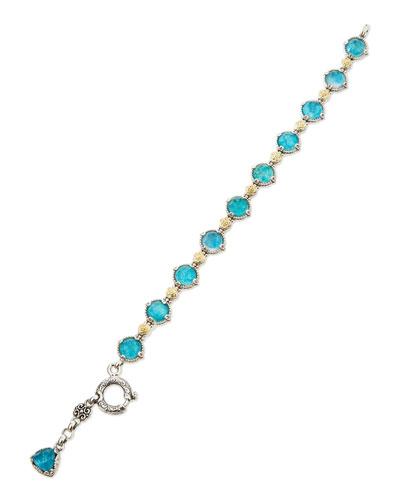 Chrysocolla Doublet Station Bracelet, Blue