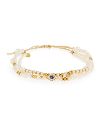 Evil Eye Pearl Cord Bracelet