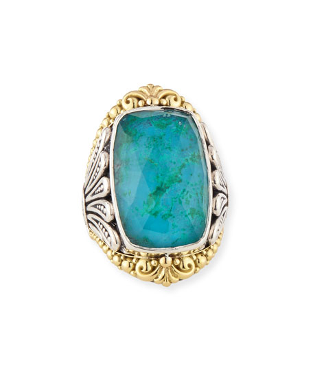 North-South Crystal Quartz Over Chrysocolla Doublet Ring