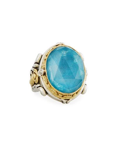 Faceted Chrysocolla Doublet Ring