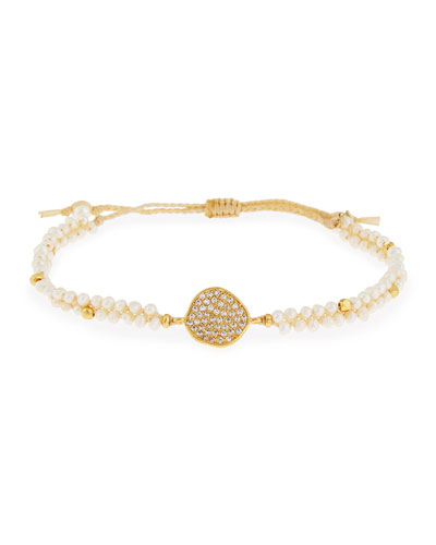 Crystal Disc Pearl Cord Bracelet