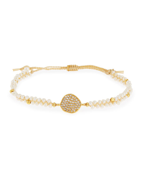 Tai Crystal Disc Pearl Cord Bracelet