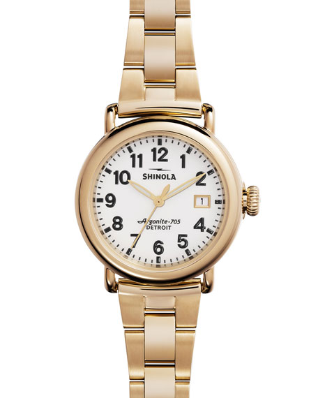 Shinola 36mm Runwell Golden Bracelet Watch