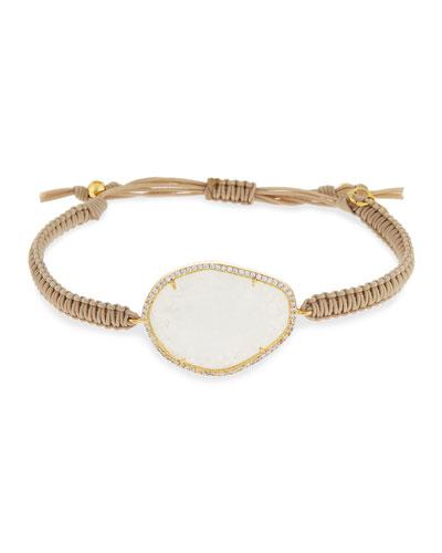 Woven Rock Crystal Bracelet, Beige