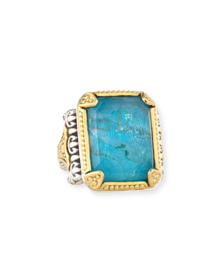 18K Crystal Quartz Over Chrysocolla Doublet Ring