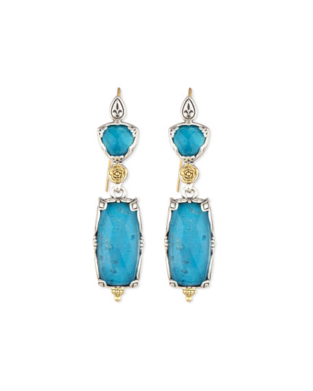 Konstantino Long Crystal Quartz Over Chrysocolla Doublet Earrings