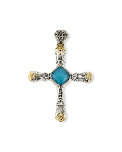 Chrysocolla Doublet Cross Pendant