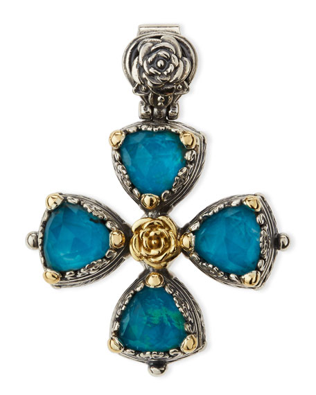 Konstantino Chrysocolla Doublet Cross Pendant
