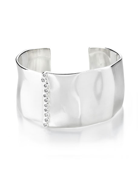 Ippolita 925 Glamazon Wide Uneven Cuff Bracelet w/Diamond