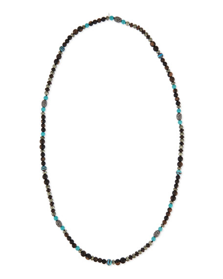 Wooden Bead & Turquoise Necklace