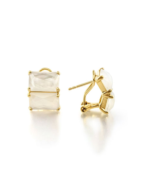 18K Rock Candy Two-Stone Earrings, White