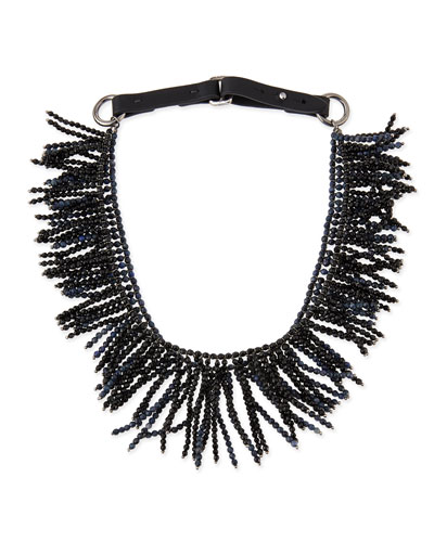 Double-Layer Fringe Choker, Blue