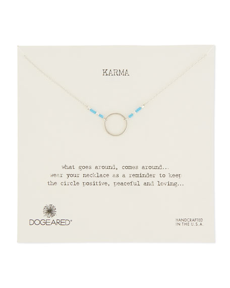 Dogeared Karma Sterling Silver & Bead Necklace, Turquoise