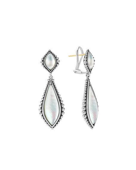 Caviar Mother-of-Pearl Double-Drop Earrings