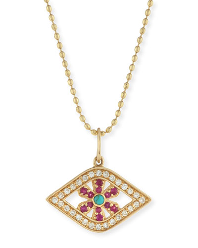 Pavé Diamond & Ruby Evil Eye Flower Charm Necklace