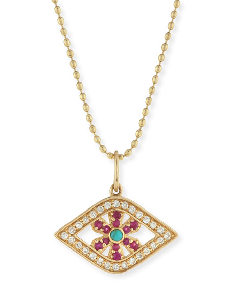 Sydney Evan Pavé Diamond & Ruby Evil Eye