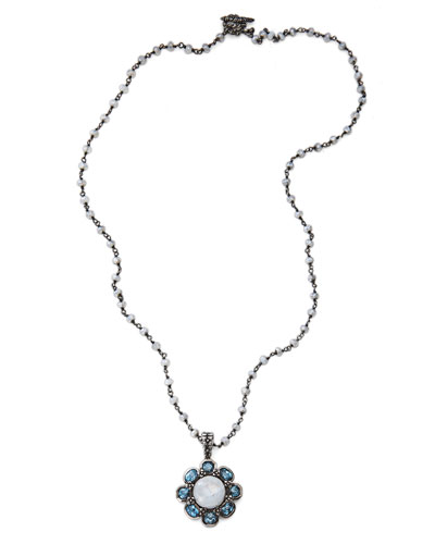Moonstone Bead Flower Pendant Necklace