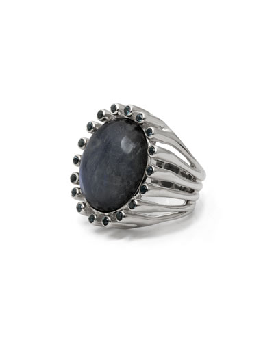 Oval White Rainbow Moonstone & Blue Topaz Ring