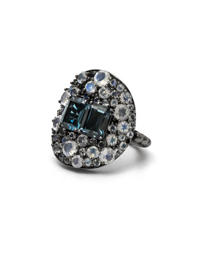 London Blue Topaz & Rainbow Moonstone Shield Ring