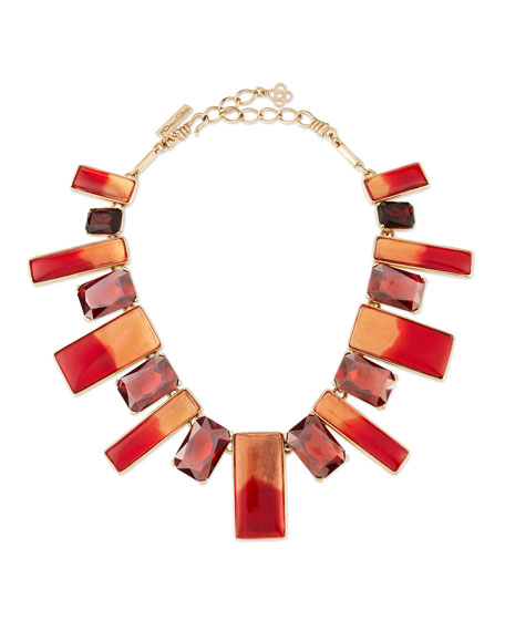 Two-Tone Resin & Crystal Bib Necklace, Berry