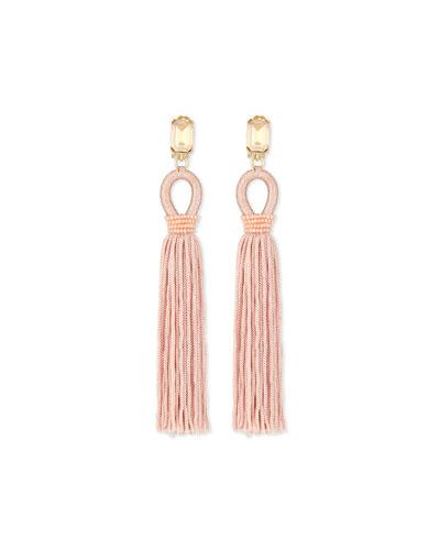 Long Woven Tassel Earrings, Soft Petal