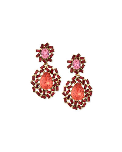 Baguette Cluster Crystal Statement Earrings, Berry