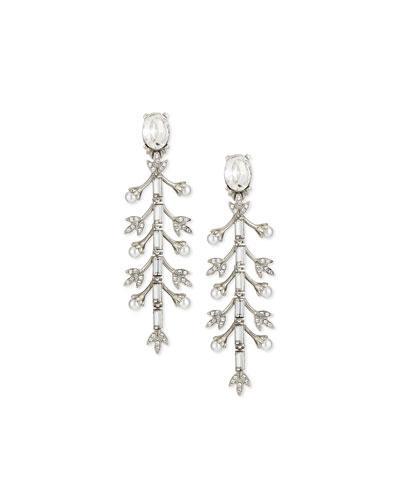 Pearly Crystal Baguette Leaf Drop Earrings