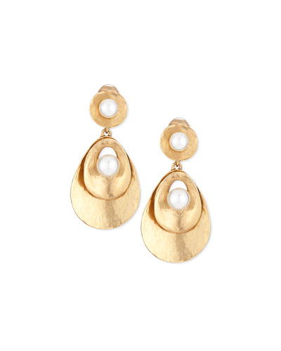Pearly Golden Disc Statement Earrings