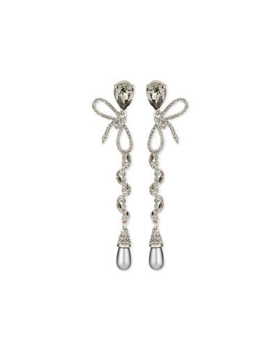 Pavé Spiraled Crystal Bow Earrings