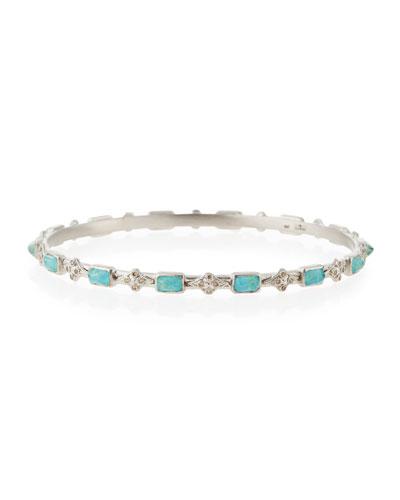 New World Emerald-Cut Turquoise Doublet & Diamond Cravelli Cross Bangle