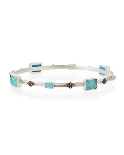 New World Turquoise Doublet & Diamond Cravelli Cross Bangle