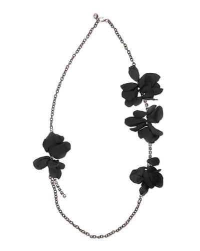 Long Chain Flower Necklace, Black
