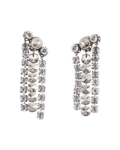 Three-Row Crystal Statement Earrings