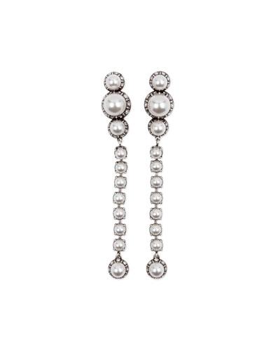 Pearly Linear Drop Earrings, White