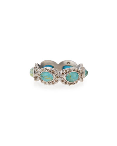 New World Oval Turquoise & Diamond Stacking Ring