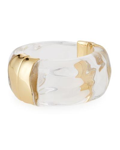 Liquid Side Hinge Cuff Bracelet, Clear